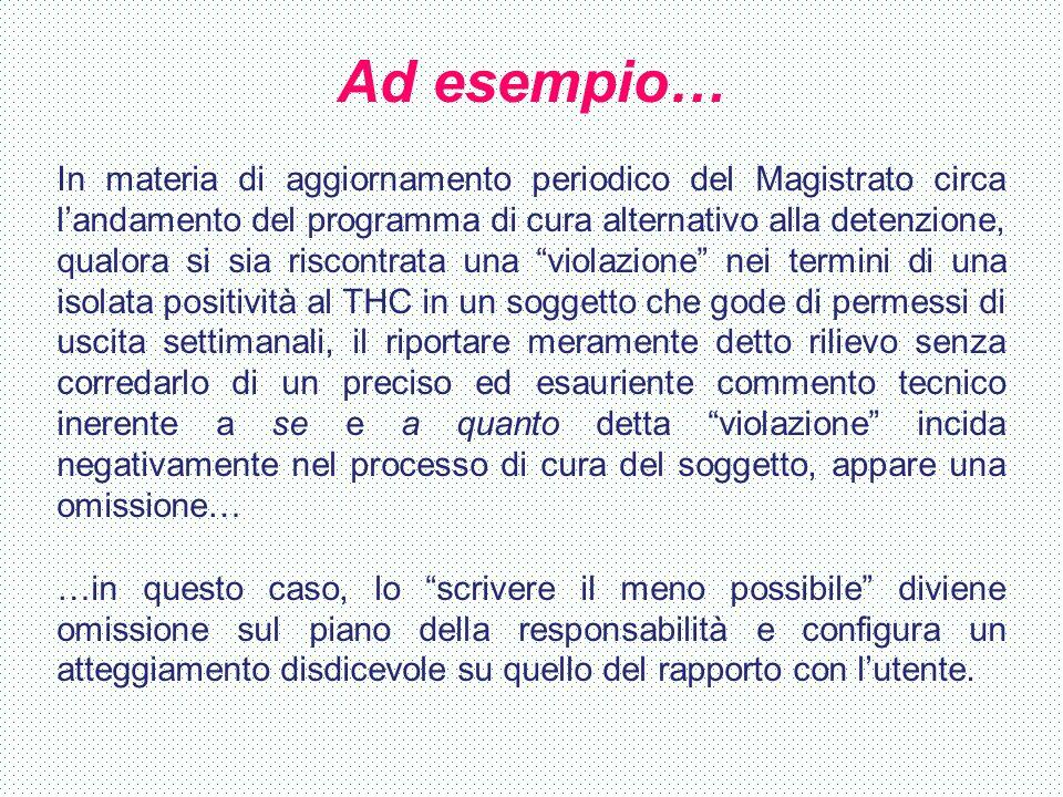Ad esempio… In materia di aggiornamento periodico del Magistrato circa l'andamento del programma di cura alternativo alla detenzione, qualora si sia r