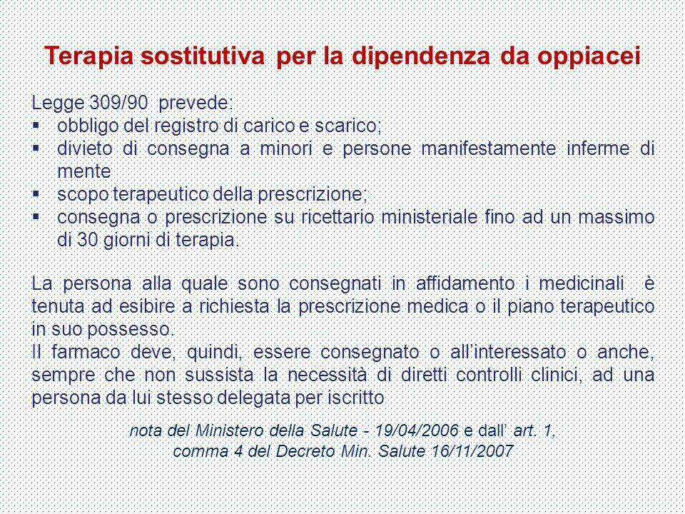 Terapia sostitutiva per la dipendenza da oppiacei Legge 309/90 prevede:  obbligo del registro di carico e scarico;  divieto di consegna a minori e p