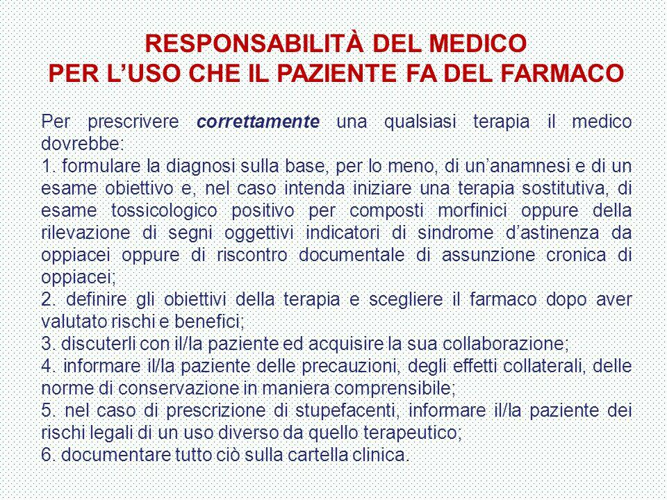 RESPONSABILITÀ DEL MEDICO PER L'USO CHE IL PAZIENTE FA DEL FARMACO Per prescrivere correttamente una qualsiasi terapia il medico dovrebbe: 1. formular