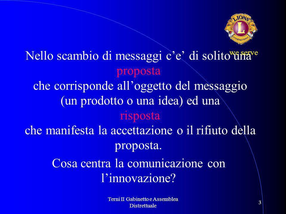Terni II Gabinetto e Assemblea Distrettuale 3 Nello scambio di messaggi c'e' di solito una proposta che corrisponde all'oggetto del messaggio (un prodotto o una idea) ed una risposta che manifesta la accettazione o il rifiuto della proposta.