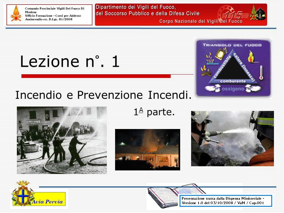 Lezione n°. 1 Incendio e Prevenzione Incendi. 1 A parte.