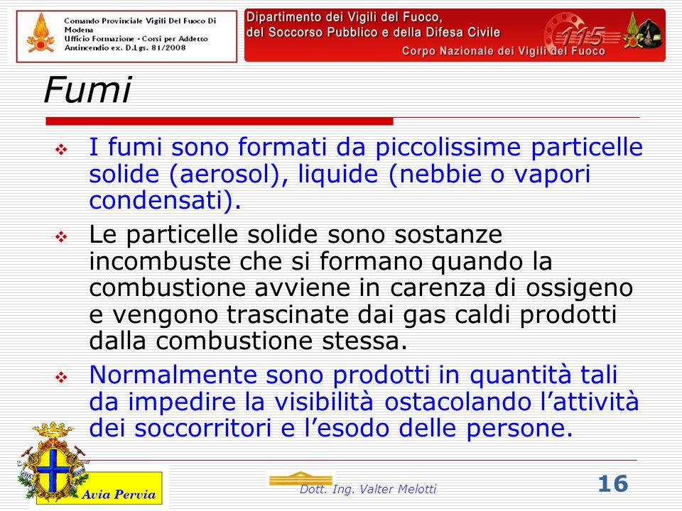 Dott. Ing. Valter Melotti 16 Fumi  I fumi sono formati da piccolissime particelle solide (aerosol), liquide (nebbie o vapori condensati).  Le partic