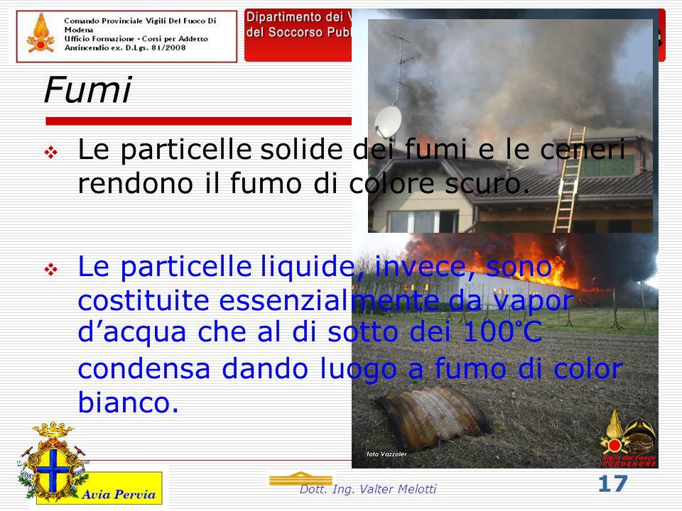 Dott. Ing. Valter Melotti 17 Fumi  Le particelle solide dei fumi e le ceneri rendono il fumo di colore scuro.  Le particelle liquide, invece, sono c