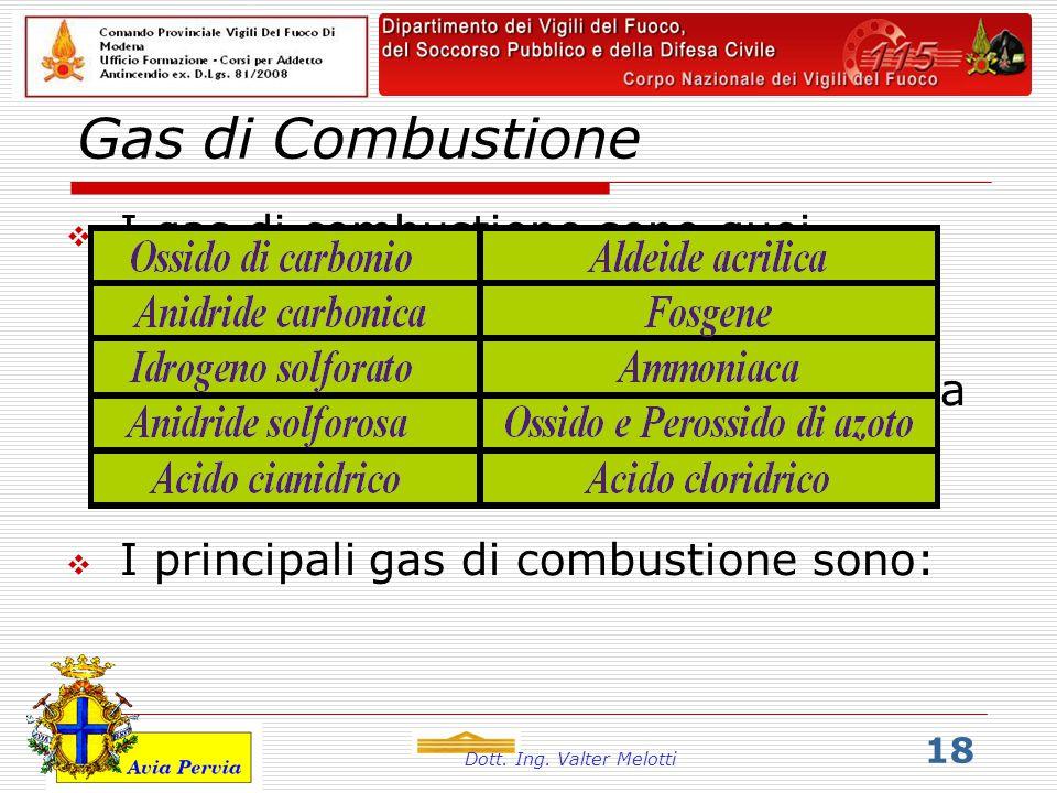 Dott. Ing. Valter Melotti 18 Gas di Combustione  I gas di combustione sono quei prodotti della combustione che rimangono allo stato gassoso anche qua
