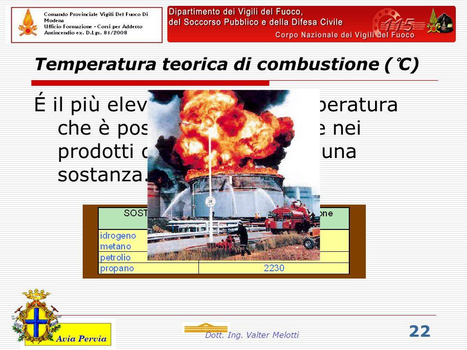 Dott. Ing. Valter Melotti 22 Temperatura teorica di combustione (°C)  É il più elevato valore di temperatura che è possibile raggiungere nei prodotti
