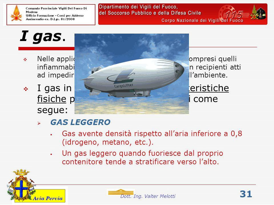 Dott. Ing. Valter Melotti 31 I gas.  Nelle applicazioni civili ed industriali i gas, compresi quelli infiammabili, sono generalmente contenuti in rec
