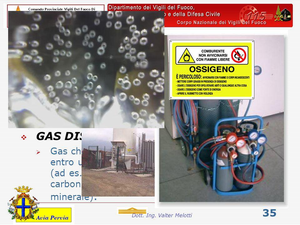 Dott. Ing. Valter Melotti 35 I gas.  GAS REFRIGERATI  Gas che possono essere conservati in fase liquida mediante refrigerazione alla temperatura di