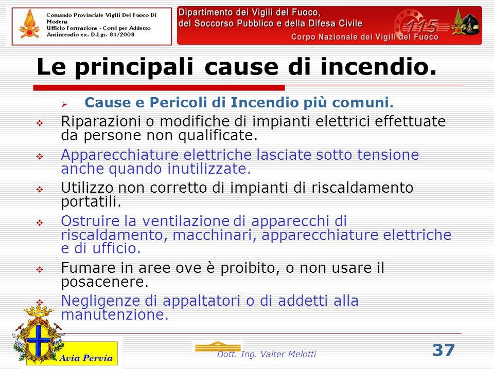 Dott. Ing. Valter Melotti 37 Le principali cause di incendio.  Cause e Pericoli di Incendio più comuni.  Riparazioni o modifiche di impianti elettri