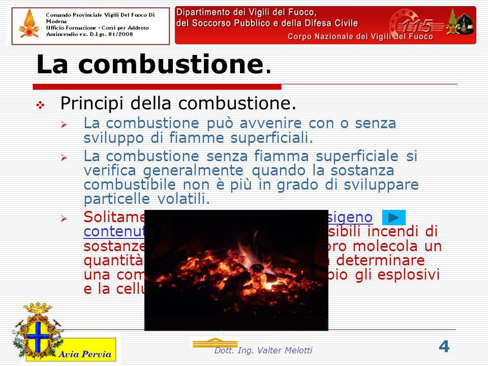 Dott. Ing. Valter Melotti 4 La combustione.  Principi della combustione.  La combustione può avvenire con o senza sviluppo di fiamme superficiali. 