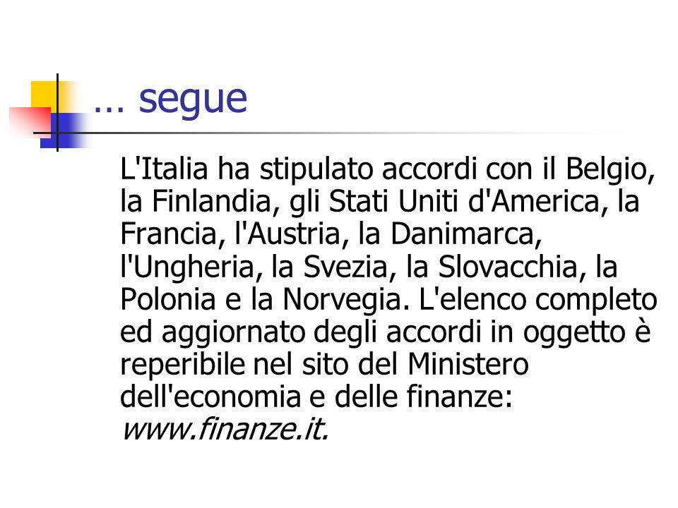… segue L'Italia ha stipulato accordi con il Belgio, la Finlandia, gli Stati Uniti d'America, la Francia, l'Austria, la Danimarca, l'Ungheria, la Svez
