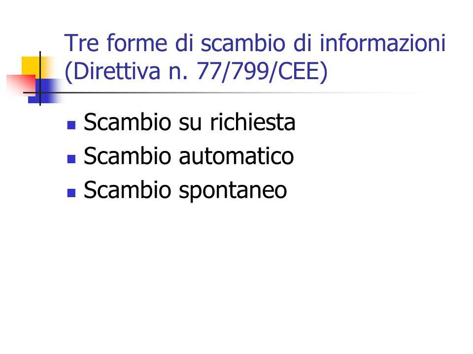 Tre forme di scambio di informazioni (Direttiva n. 77/799/CEE) Scambio su richiesta Scambio automatico Scambio spontaneo
