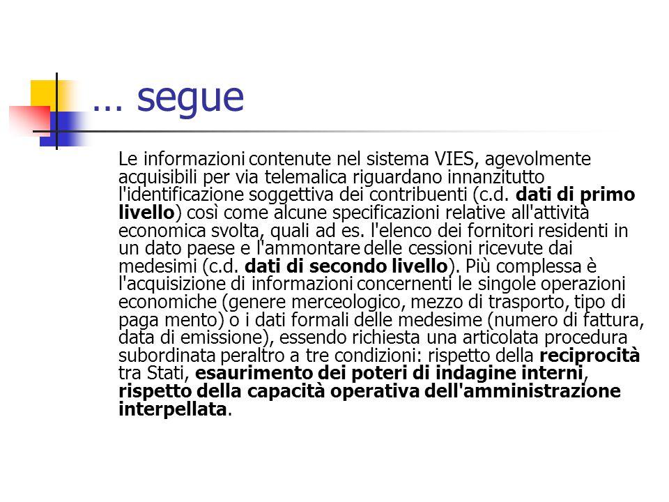… segue Le informazioni contenute nel sistema VIES, agevolmente acquisibili per via telemalica riguardano innanzitutto l identificazione soggettiva dei contribuenti (c.d.