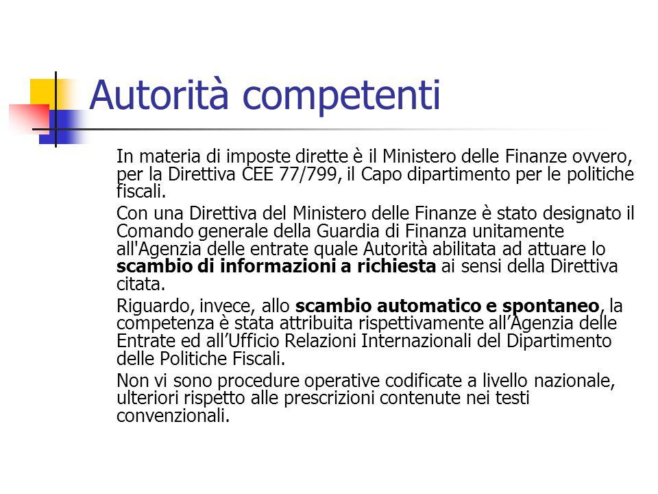 Autorità competenti In materia di imposte dirette è il Ministero delle Finanze ovvero, per la Direttiva CEE 77/799, il Capo dipartimento per le politi