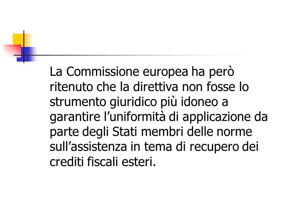 La Commissione europea ha però ritenuto che la direttiva non fosse lo strumento giuridico più idoneo a garantire l'uniformità di applicazione da parte