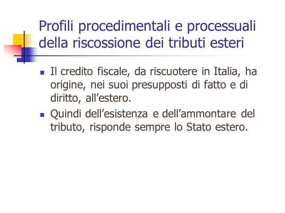 Profili procedimentali e processuali della riscossione dei tributi esteri Il credito fiscale, da riscuotere in Italia, ha origine, nei suoi presupposti di fatto e di diritto, all'estero.