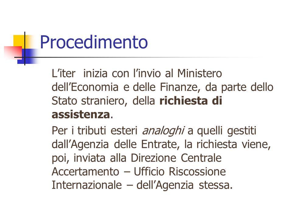 Procedimento L'iter inizia con l'invio al Ministero dell'Economia e delle Finanze, da parte dello Stato straniero, della richiesta di assistenza. Per