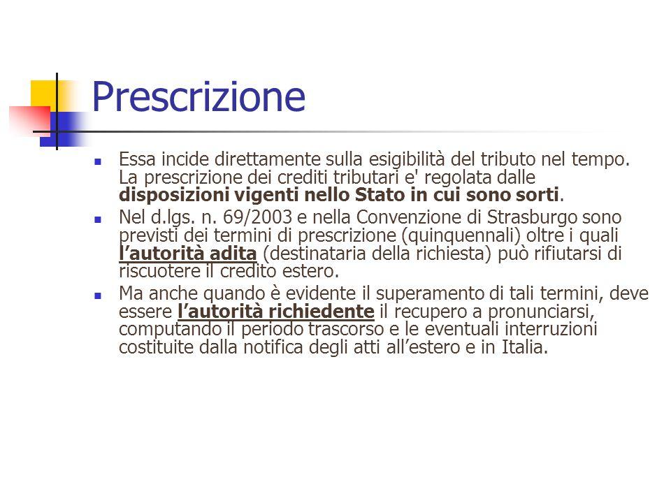 Prescrizione Essa incide direttamente sulla esigibilità del tributo nel tempo.