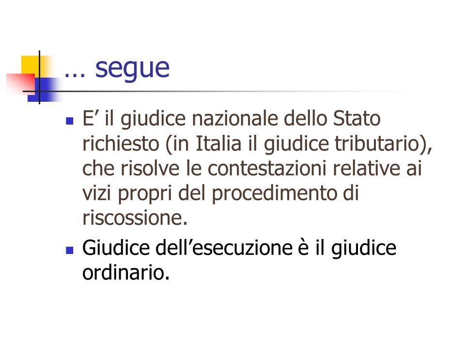 … segue E' il giudice nazionale dello Stato richiesto (in Italia il giudice tributario), che risolve le contestazioni relative ai vizi propri del procedimento di riscossione.
