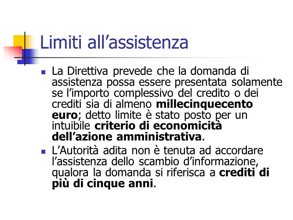 Limiti all'assistenza La Direttiva prevede che la domanda di assistenza possa essere presentata solamente se l'importo complessivo del credito o dei c
