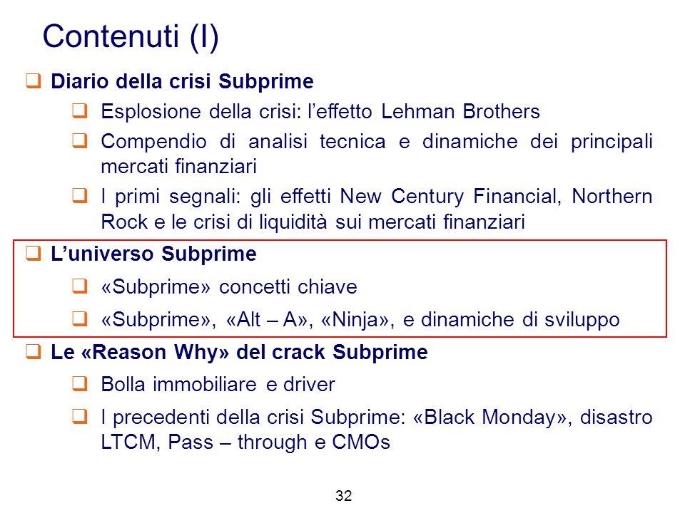 32 Contenuti (I)  Diario della crisi Subprime  Esplosione della crisi: l'effetto Lehman Brothers  Compendio di analisi tecnica e dinamiche dei prin