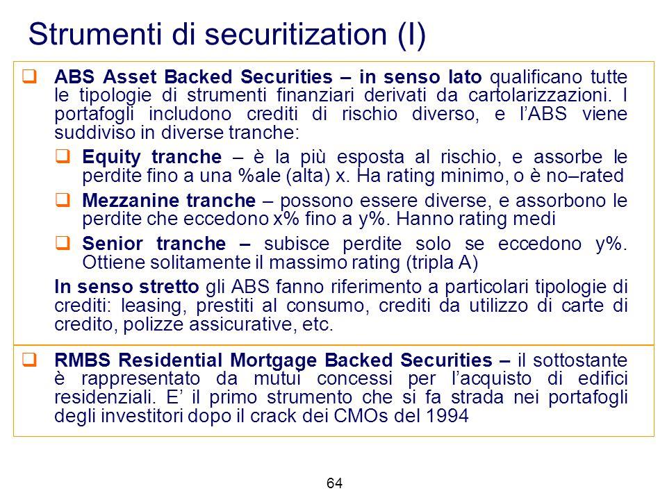 Strumenti di securitization (I)  ABS Asset Backed Securities – in senso lato qualificano tutte le tipologie di strumenti finanziari derivati da carto