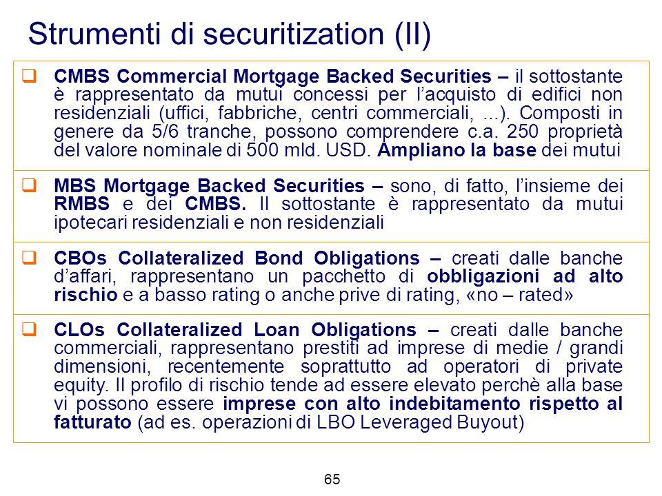Strumenti di securitization (II)  CMBS Commercial Mortgage Backed Securities – il sottostante è rappresentato da mutui concessi per l'acquisto di edi