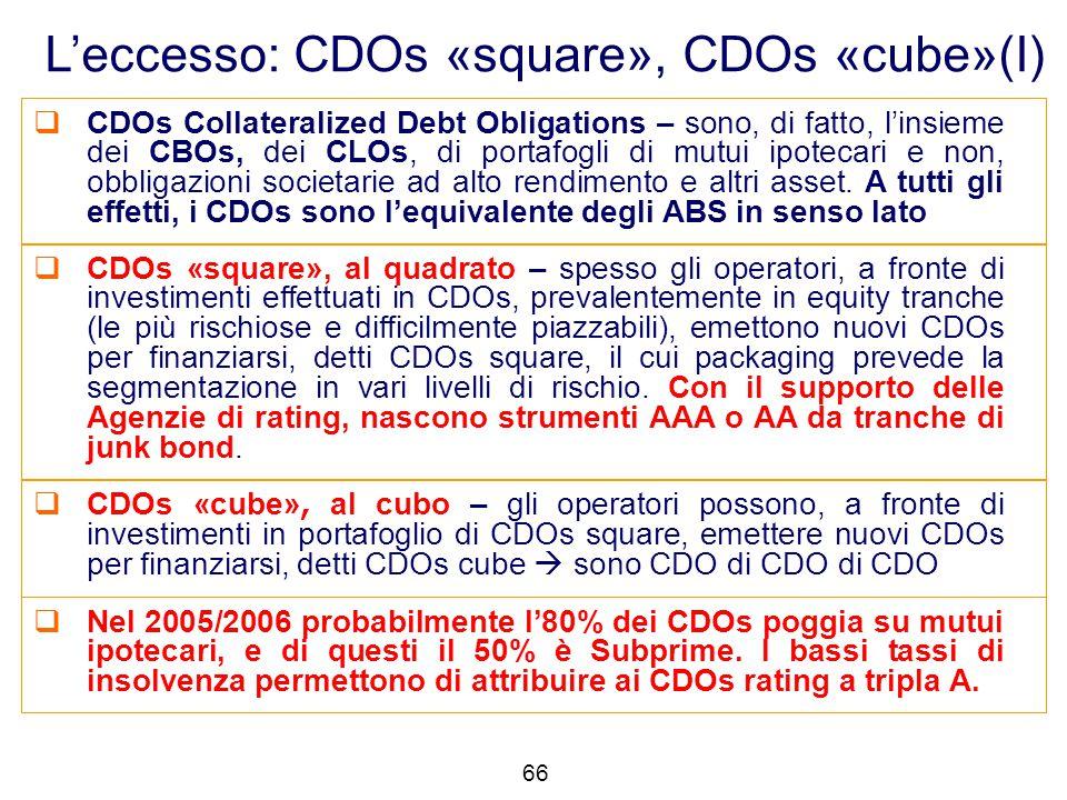L'eccesso: CDOs «square», CDOs «cube»(I)  CDOs Collateralized Debt Obligations – sono, di fatto, l'insieme dei CBOs, dei CLOs, di portafogli di mutui