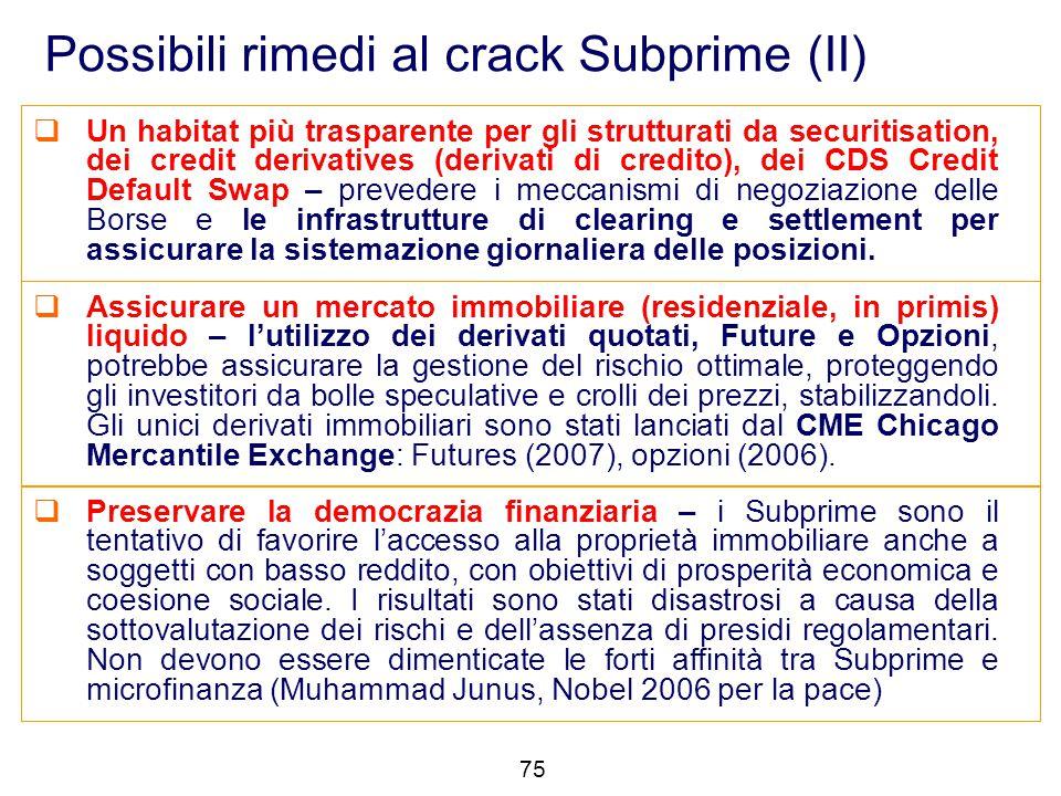 Possibili rimedi al crack Subprime (II)  Un habitat più trasparente per gli strutturati da securitisation, dei credit derivatives (derivati di credit