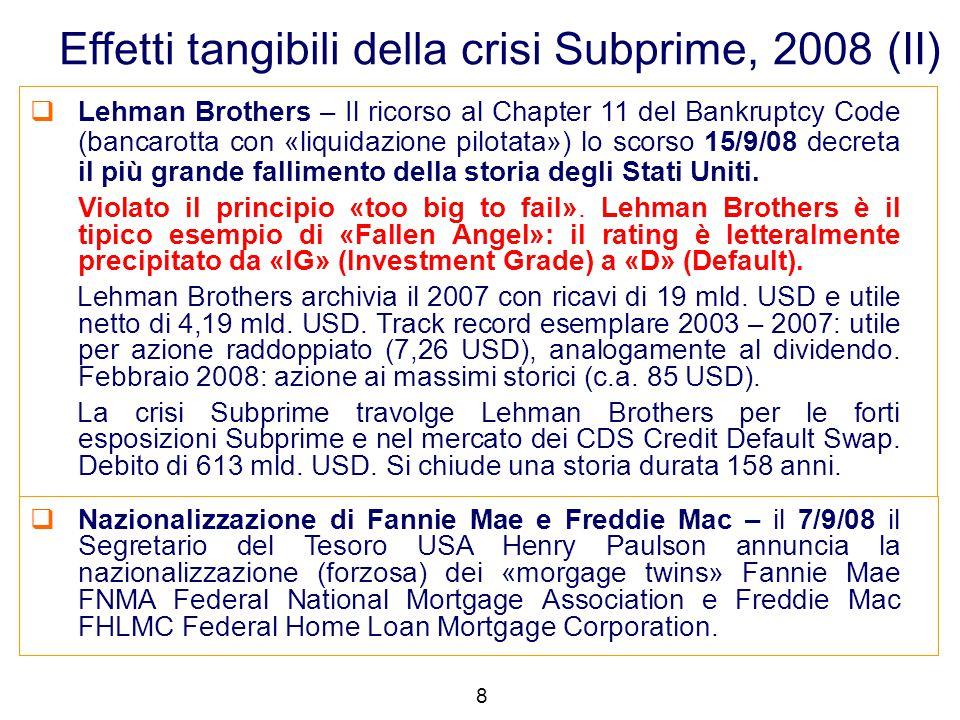 Lehman Brothers – Il ricorso al Chapter 11 del Bankruptcy Code (bancarotta con «liquidazione pilotata») lo scorso 15/9/08 decreta il più grande fall