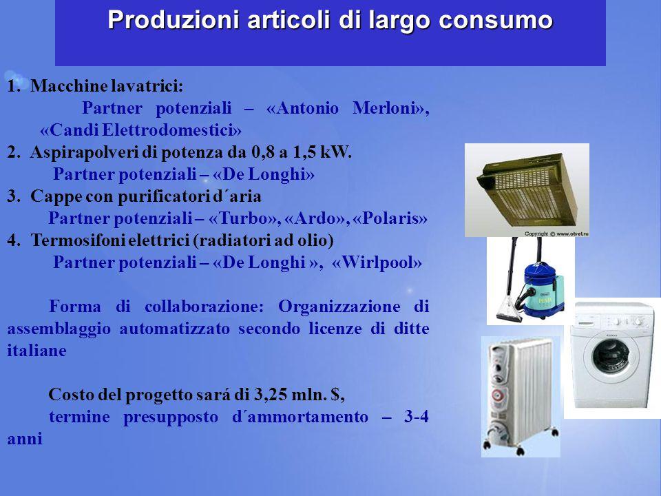 1. Macchine lavatrici: Partner potenziali – «Antonio Merloni», «Candi Elettrodomestici» 2. Aspirapolveri di potenza da 0,8 a 1,5 kW. Partner potenzial