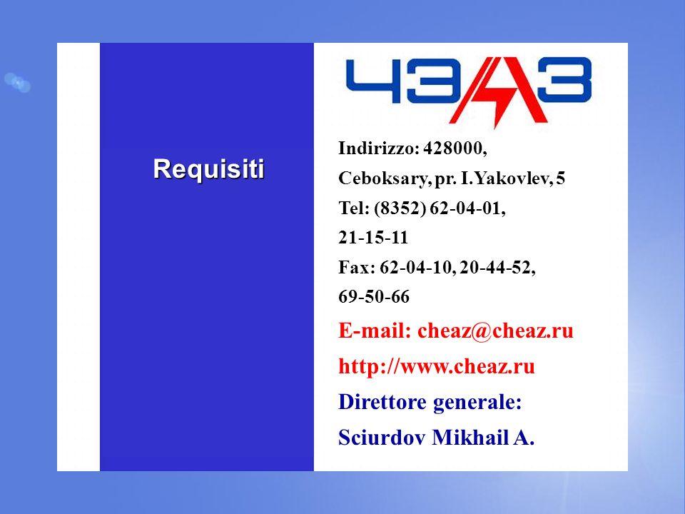 Requisiti Indirizzo: 428000, Ceboksary, pr. I.Yakovlev, 5 Tel: (8352) 62-04-01, 21-15-11 Fax: 62-04-10, 20-44-52, 69-50-66 E-mail: cheaz@cheaz.ru http