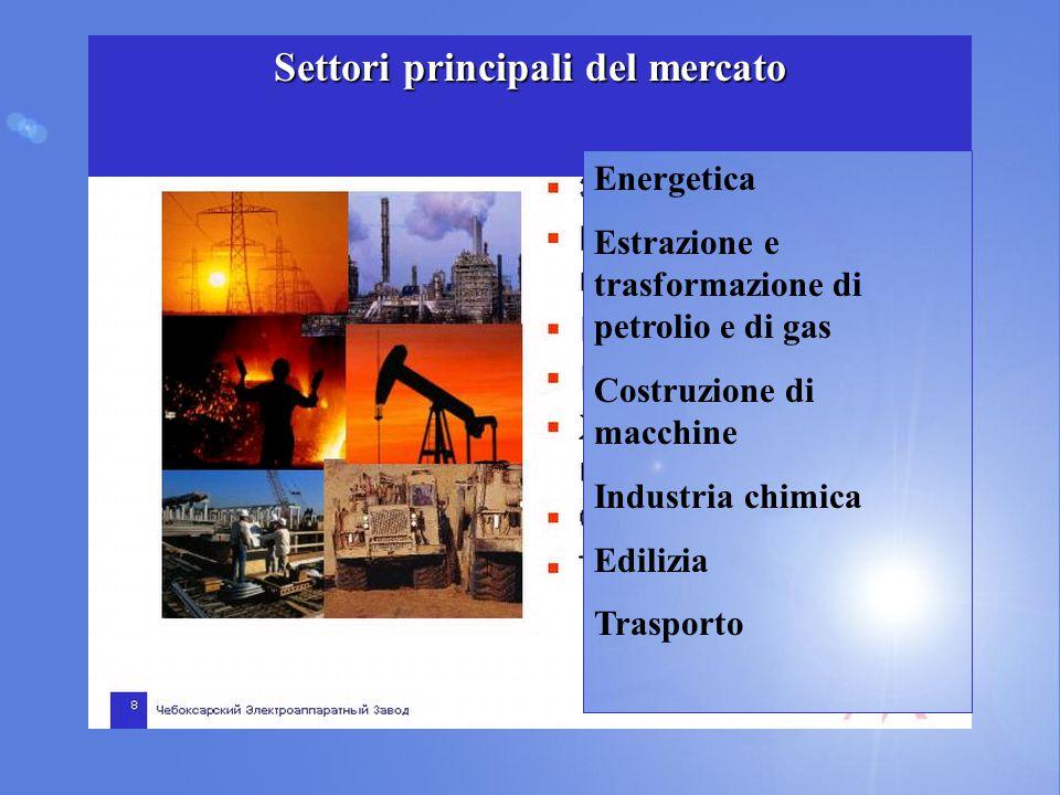 Settori principali del mercato Energetica Estrazione e trasformazione di petrolio e di gas Costruzione di macchine Industria chimica Edilizia Trasport