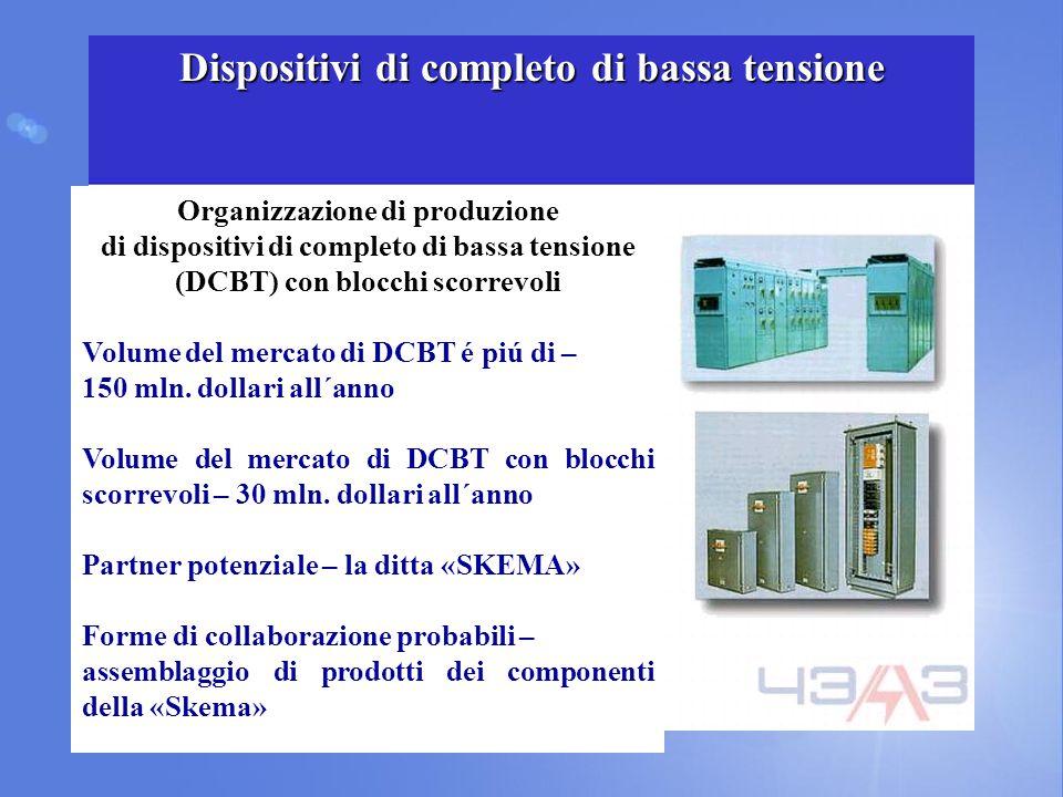 Organizzazione di produzione di dispositivi di completo di bassa tensione (DCBT) con blocchi scorrevoli Volume del mercato di DCBT é piú di – 150 mln.