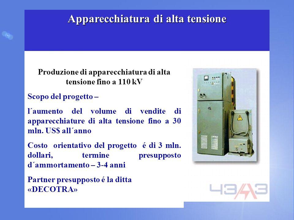 Produzione di apparecchiatura di alta tensione fino a 110 kV Scopo del progetto – l´aumento del volume di vendite di apparecchiature di alta tensione fino a 30 mln.