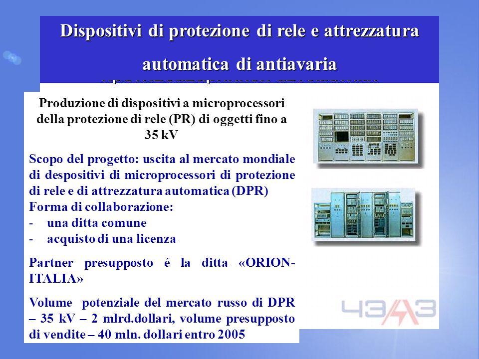 Produzione di dispositivi a microprocessori della protezione di rele (PR) di oggetti fino a 35 kV Scopo del progetto: uscita al mercato mondiale di de