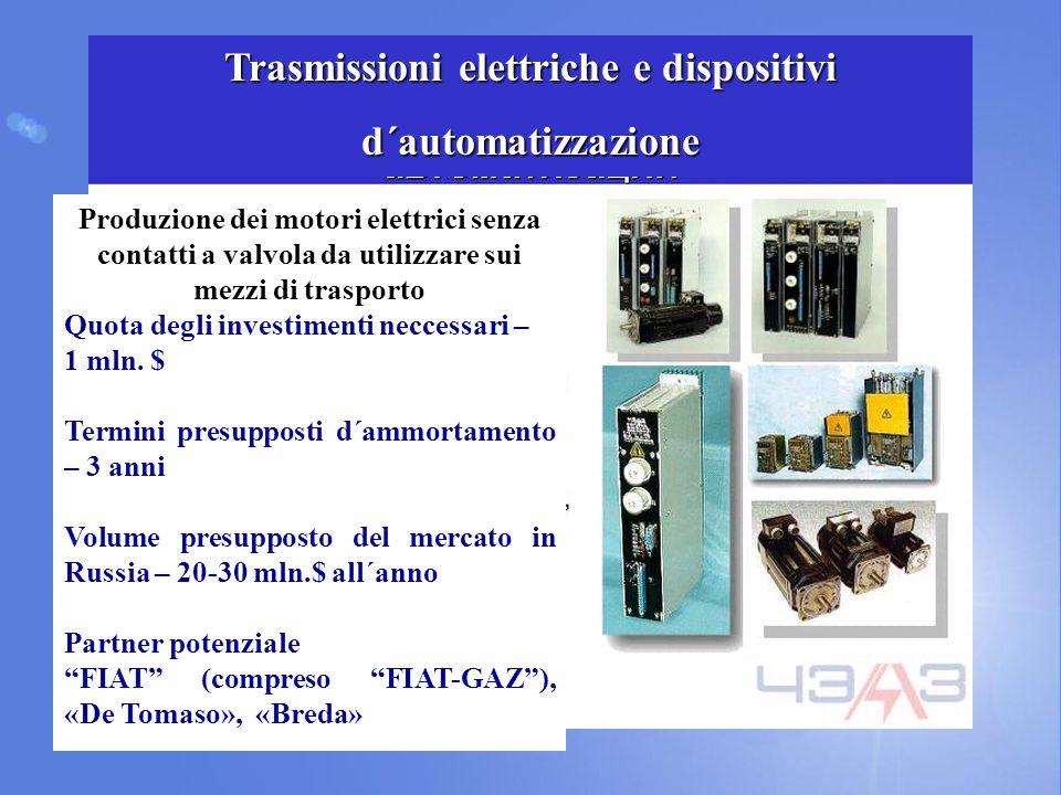 Produzione dei motori elettrici senza contatti a valvola da utilizzare sui mezzi di trasporto Quota degli investimenti neccessari – 1 mln.