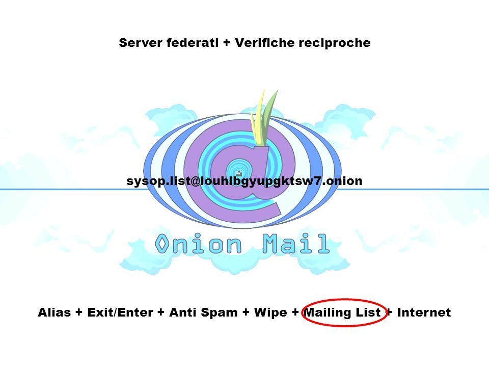 Server federati + Verifiche reciproche Alias + Exit/Enter + Anti Spam + Wipe + Mailing List + Internet sysop.list@louhlbgyupgktsw7.onion