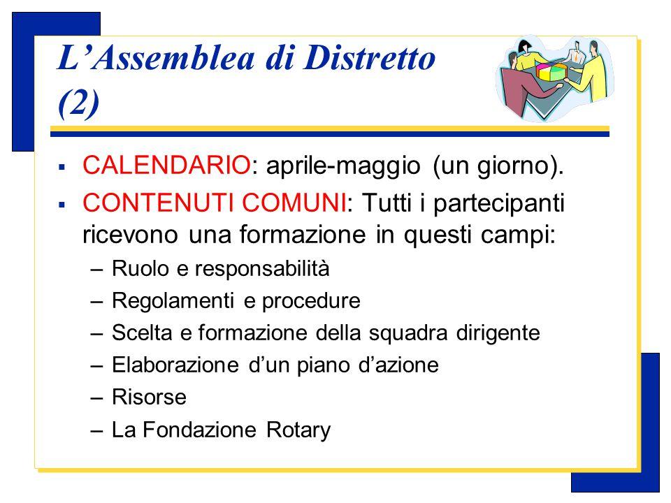Carlo Michelotti, Gov.Distr.1980 (1996/97) L'Assemblea di Distretto (3)  SUPERVISIONE: il DGE é responsabile del programma generale dell'Assemblea di Distretto.