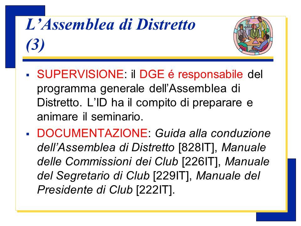 Carlo Michelotti, Gov.Distr.1980 (1996/97) Seminario Leadership distrettuale (1)  OBIETTIVO: Formare dei dirigenti rotariani in grado e disposti a servire il Rotary oltre il livello di Club.