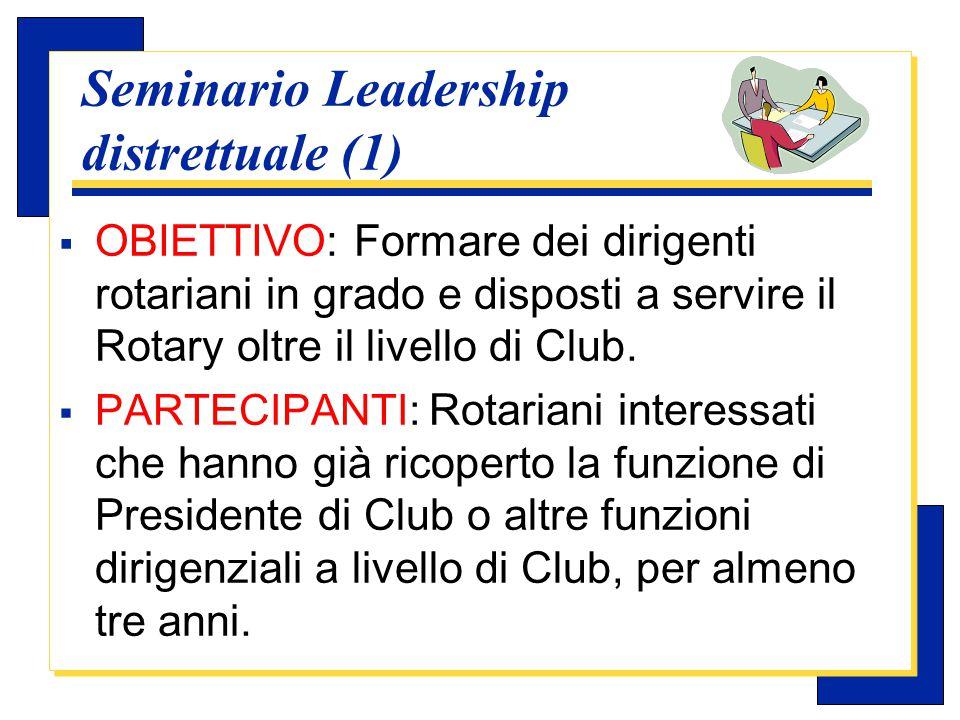 Carlo Michelotti, Gov.Distr.1980 (1996/97) Seminario Leadership distrettuale(2)  CALENDARIO: Immediatamente prima, durante o subito dopo il Congresso (un giorno).