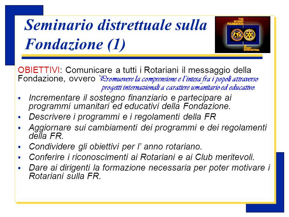 Carlo Michelotti, Gov.Distr.1980 (1996/97) Seminario distrettuale sulla Fondazione (2)  PARTECIPANTI: –i Presidenti di club –i membri delle Commissioni e delle sotto- commissioni della FR del Club.