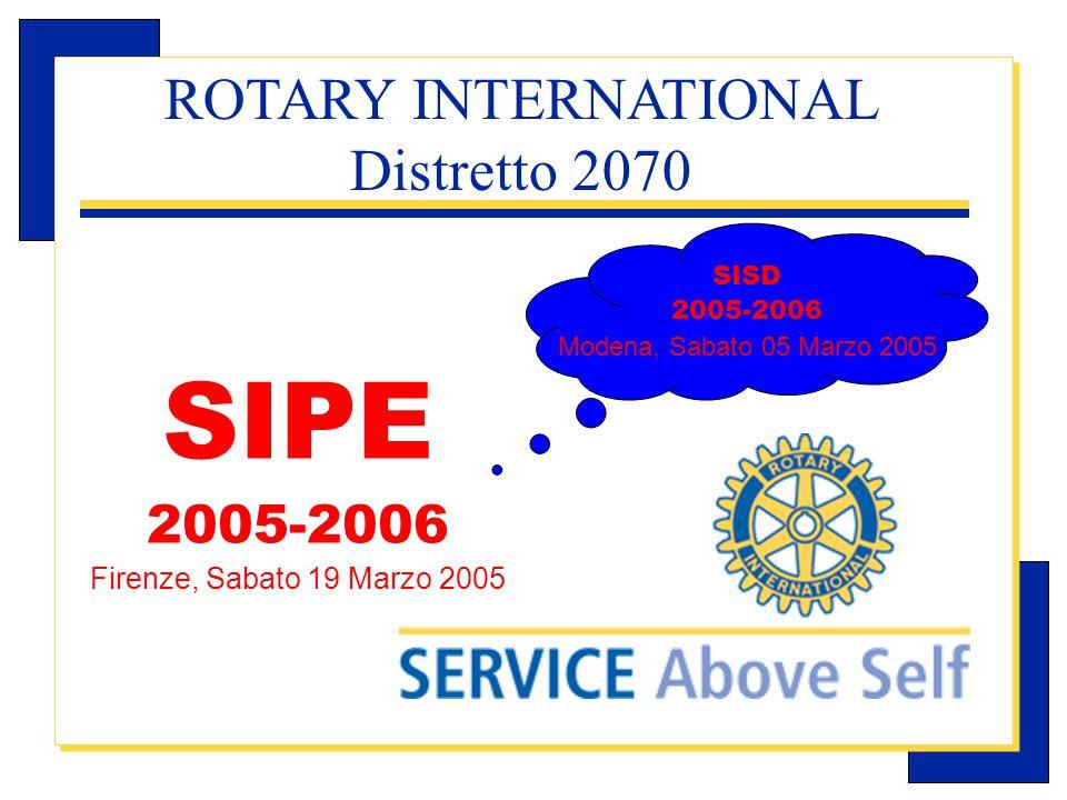 Carlo Michelotti, Gov.Distr.1980 (1996/97) SISD 2005-2006 Modena, Sabato 05 Marzo 2005 ROTARY INTERNATIONAL Distretto 2070 SIPE 2005-2006 Firenze, Sabato 19 Marzo 2005