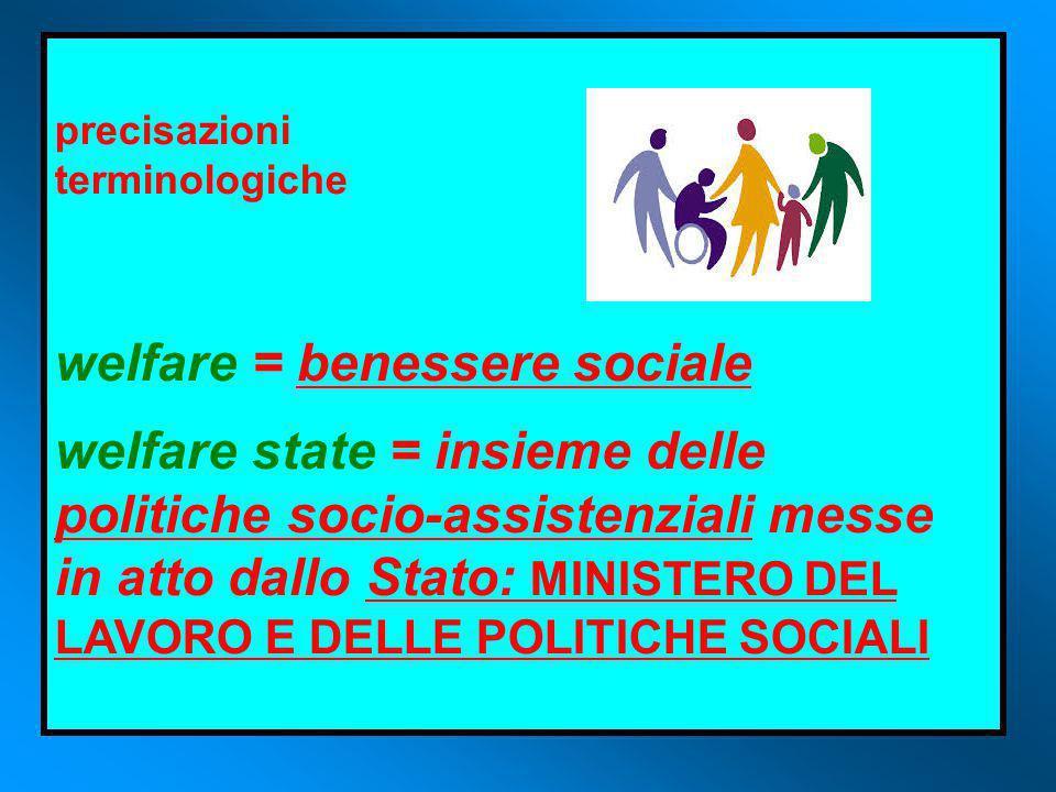 precisazioni terminologiche welfare = benessere sociale welfare state = insieme delle politiche socio-assistenziali messe in atto dallo Stato: MINISTERO DEL LAVORO E DELLE POLITICHE SOCIALI