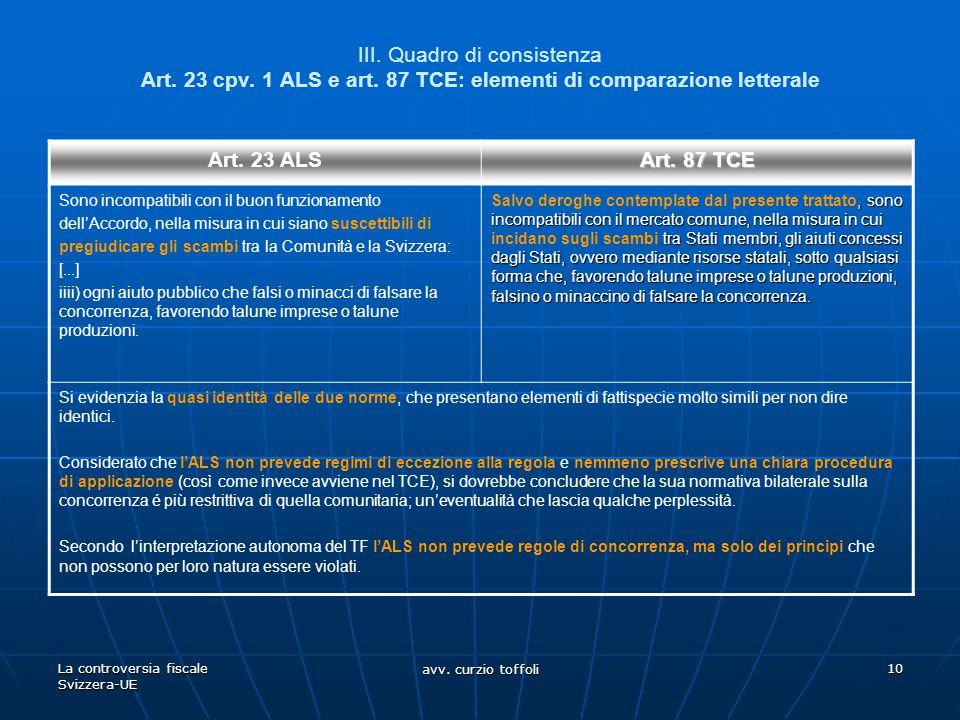 La controversia fiscale Svizzera-UE avv. curzio toffoli 10 III. Quadro di consistenza Art. 23 cpv. 1 ALS e art. 87 TCE: elementi di comparazione lette