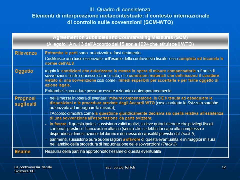 La controversia fiscale Svizzera-UE avv. curzio toffoli 12 III. Quadro di consistenza Elementi di interpreazione metacontestuale: il contesto internaz