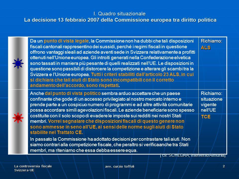 La controversia fiscale Svizzera-UE avv. curzio toffoli 2 I. Quadro situazionale La decisione 13 febbraio 2007 della Commissione europea tra diritto p