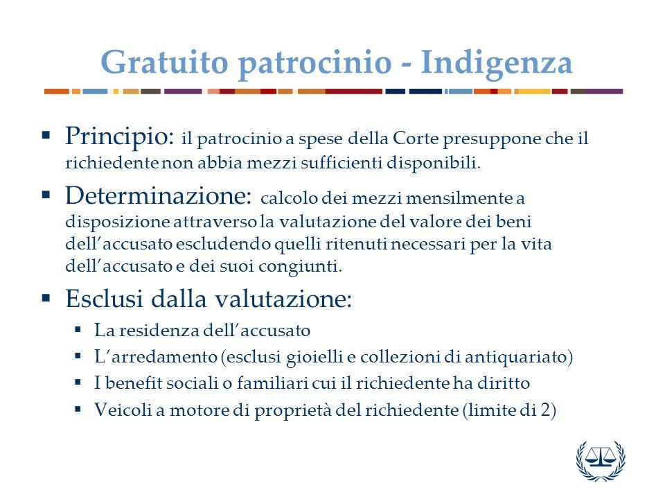 Gratuito patrocinio - Indigenza  Principio: il patrocinio a spese della Corte presuppone che il richiedente non abbia mezzi sufficienti disponibili.