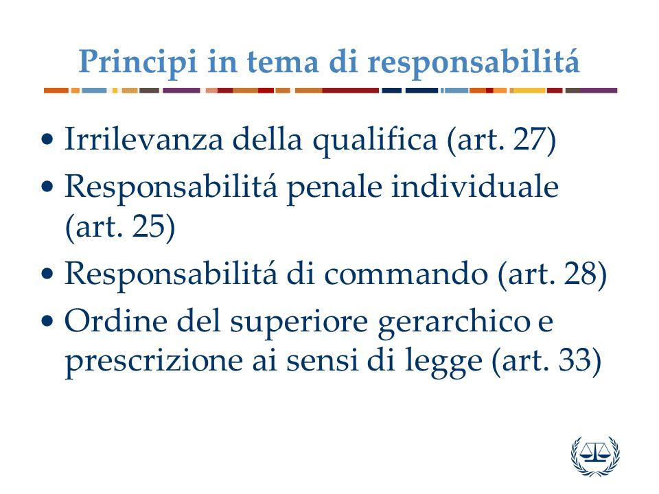 Principi in tema di responsabilitá Irrilevanza della qualifica (art.