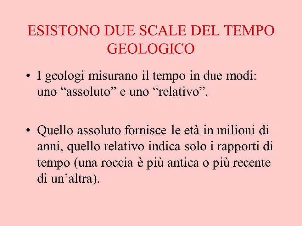 """ESISTONO DUE SCALE DEL TEMPO GEOLOGICO I geologi misurano il tempo in due modi: uno """"assoluto"""" e uno """"relativo"""". Quello assoluto fornisce le età in mi"""