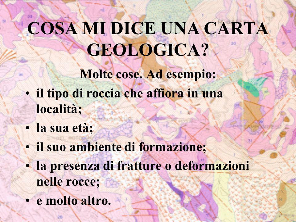 COSA MI DICE UNA CARTA GEOLOGICA? Molte cose. Ad esempio: il tipo di roccia che affiora in una località; la sua età; il suo ambiente di formazione; la